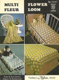 Twilleys 5947 flower loom crochet vintage pattern baby pram blanket PDF instant download