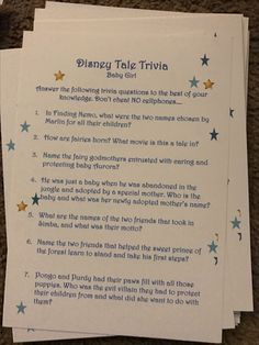 Disney trivia baby shower game