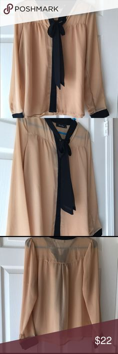 Black and Tan sheer blouse with neck tie Button up sheer shirt with black cuff sleeves. The perfect shirt for work a night out with friends anna grace Tops Blouses