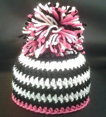 Zebra Hat....good for the new pom pom makers