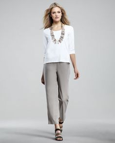Twill Ankle Pants, Women\'s by Eileen Fisher at Neiman Marcus.