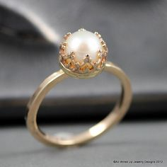 14k Gold Pearl Ring - Romantic Pearl Ring - All Wired Up Jewelry Designs