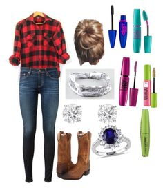 """""""Next Friday/bonfire outfit"""" by grace-hobson on Polyvore featuring Frye, CPO, AG Adriano Goldschmied, Full Tilt and Maybelline"""