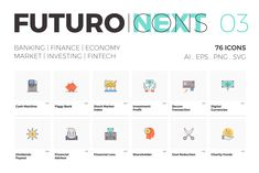 Top, top Graphics Futuro Next Icons / Finance Pack—Hey guys! We're glad to share you the third series of icons from our new Futuro Next collection.