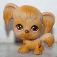 #26 Tan Spaniel Dog  Brown Eyes Pigtails LPS #littlestpetshop