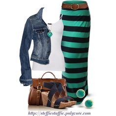 """Striped Maxi Skirt"" by steffiestaffie on Polyvore"