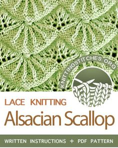 Alsacian Scallop Stitch Pattern is found in the Eyelet and Lace Stitches category. Lace Knitting Stitches, Baby Cardigan Knitting Pattern, Lace Knitting Patterns, Loom Knitting, Stitch Patterns, Baby Knitting, Knit Stitches For Beginners, Knitting Projects, Inspiration