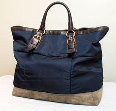 PRADA MILANO Men's Nylon Suede Leather Travel Bag #PRADA #ToteBag