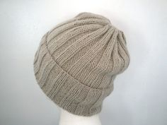 100% Cashmere Hand Knit Hat Loose Slouch Beanie by Girlpower