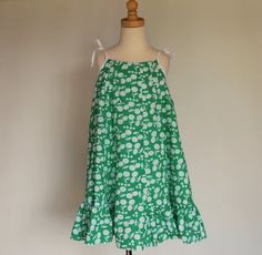 Girls dress in green white cotton  side panels by SchoolHouseFrock