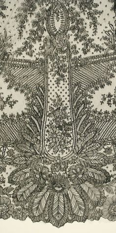 Wedding dress lace Date: 1869 Culture: French. Vintage Bridal, Vintage Lace, Fabric Embellishment, Chinese Patterns, Tambour Embroidery, Dresses For Less, Passementerie, Linens And Lace, Irish Lace