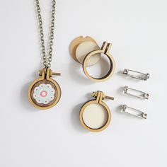 """1"""" Embroidery Hoop Necklace and Brooch Kit (Set of 3)"""