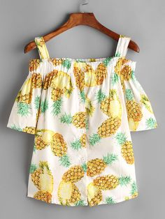 SheIn offers Pineapple Print Open Shoulder Top & more to fit your fashionable needs. Pineapple Clothes, Cool Outfits, Summer Outfits, Best Fashion Designers, Kids Fashion, Fashion Outfits, Fashion Advice, Pineapple Print, Pineapple Top