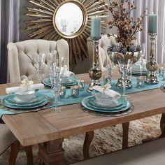 Dining Room Table Decor, Elegant Dining Room, Decoration Table, Dining Room Design, Living Room Decor, Kitchen Decor, Küchen Design, Home Decor, Gemstone Colors