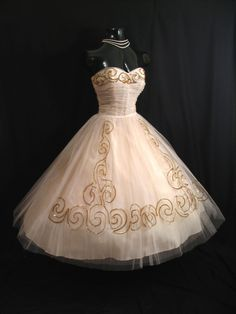 Vintage 1950's Strapless Fred Perlberg Dress ~ Pink Gold Tulle, Taffeta Sequins