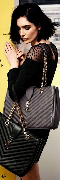 Yves Saint Laurent ~ Leather Shoulder Bags w Chain Straps