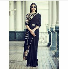 Romantic power dressing in a jet black saree. The lavish blouse is hand-embroidered on black tulle with vintage threadwork and appliqué,… Latest Saree Trends, Latest Sarees, Sabyasachi Sarees, Anarkali, Lehenga, Bollywood Saree, Bollywood Fashion, Indian Sarees, Power Dressing