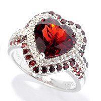 Gem Insider Sterling Silver 4.00ctw Garnet & White Topaz Heart Shaped Ring ShopNBC.com