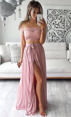 Elegant Prom Dresses, 2018 Two Piece Prom Dresses Lace Top Off the Shoulder Short Sleeves Thigh-High Slit Sexy Evening Gowns Shop for La Femme prom dresses. Elegant long designer gowns, sexy cocktail dresses, short semi-formal dresses, and party dresses. Prom Dresses Two Piece, Pink Prom Dresses, Cheap Prom Dresses, Pretty Dresses, Sexy Dresses, Beautiful Dresses, Casual Dresses, Short Dresses, Formal Dresses