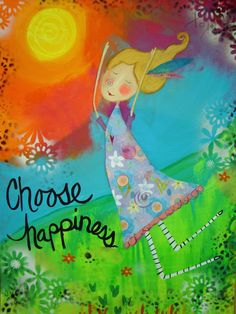 Items similar to Choose Happiness - Inspirational Girl Print on Etsy Happy Quotes, Positive Quotes, Bright Quotes, Colorful Quotes, Bubble Quotes, Apple Watch Wallpaper, Uplifting Messages, Funky Art, Empowerment Quotes