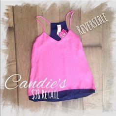 Candie's | Reversible Woven Cami Tank Top S Pink Enjoy two different styles with this juniors' reversible high-low cami from Candie's.  PRODUCT FEATURES Reversible design High-low hem V-neck FABRIC & CARE Polyester Machine wash Imported Candie's Tops Tank Tops