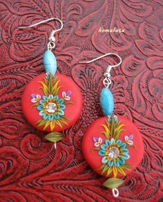 bright red  polymer clay earrings with swarovski crystals