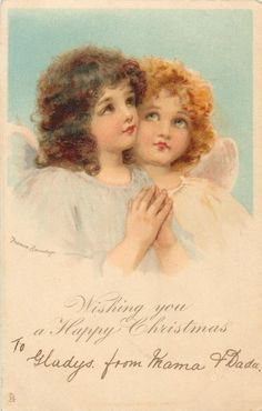 WISHING YOU A HAPPY CHRISTMAS  two angels  look up to heaven, one prays