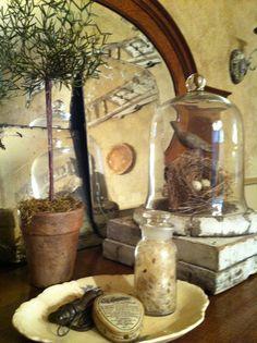 Old mirror, topiary, cloche, books, plates,