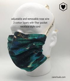 Washable face mask with filter pocket and nose wire with adjustable cord. Handmade with love in the Pacific NW, USA! Gimme Some Space face mask social distancing washable Textured Hair, Face Shapes, Pacific Northwest, Fashion Necklace, Different Styles, Portland, Entrepreneur, Filters, Ears
