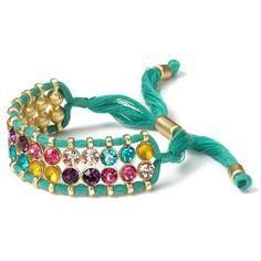 Aqua Sea Green Cloth Rope Crystal Bracelet
