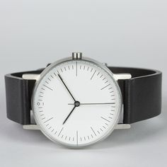 S001 watch in brushed stainless steel with black leather strap by Stock. Available at Dezeenwatchstore.com #watches