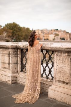 Roselyn - Gold Off-Shoulder Glitter Gown with Cape & Mermaid Train Fancy Wedding Dresses, Gold Bridesmaid Dresses, Elegant Dresses, Beautiful Dresses, Nice Dresses, Prom Dresses, Amazing Dresses, Ball Dresses, High Fashion Dresses