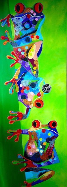 """""""CostaRica Kikkers"""", acryl op doek, afmeting 60x165."""