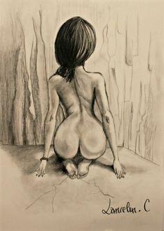 DESSIN nu femme corps crayon Nus Crayon - nu de dos