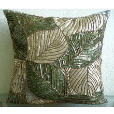 Green Camoflague - Throw Pillow Covers - 16x16 Inches Silk Pillow Cover with Sequin Embroidery. $39.95, via Etsy.