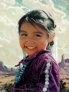 """Another great painting by Brad Schmidt, """"Navajo smile"""" Native Child, Native American Children, Native American Wisdom, Native American Pictures, Native American Beauty, American Indian Art, Native American Indians, Native Indian, Native Art"""