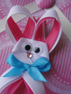 Easter Bunny Ribbon Sculpture Hair Clip by MTOBows on Etsy