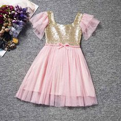 Pink Tulle Dress with Gold Bodice