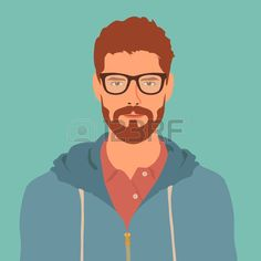 flat hipster character. stylish young guy with glasses. avatar icon. man vector…