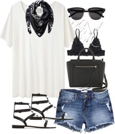 Outfit for a day out in summer by ferned featuring Forever 21Base Range relax t shirt, 62 AUD / Monki lacy black bra, 32 AUD / H&M short jean shorts, 32 AUD / Rebecca minkoff sandals, 170 AUD / Rebecca Minkoff structured tote / ASOS ball jewelry / Forever 21 necklace, 8.09 AUD / Givenchy scarve, 770 AUD / Saint Laurent Classic 83/F Sunglasses In Black Acetate And Silver…, 535 AUD