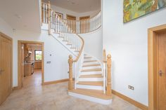 Hallway with staircase Curved Staircase, House Design, Contemporary, Inspiration, Biblical Inspiration, Spiral Stair, Architecture Design, House Plans, Home Design
