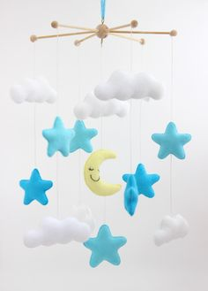 Stars, Moon and Clouds Mobile, Baby Mobile, Mobile, Nursery Mobile, Nursery Decor, Felt Mobile, Crib Mobile by JoyForBaby on Etsy https://www.etsy.com/listing/481001681/stars-moon-and-clouds-mobile-baby-mobile