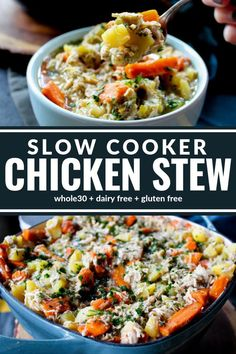 This Slow Cooker Hearty Chicken Stew is rich thick and filled with tender meat and veggies. It's the perfect meal for chilly evenings and sure to become party of your regular dinner rotation. Plus it's dairy free gluten free and compliant! Slow Cooker Chicken Stew, Stew Chicken Recipe, Chicken Recipes, Vegan Pumpkin Soup, Vegan Lentil Soup, Slow Cooker Recipes, Crockpot Recipes, Healthy Recipes, Crockpot Dishes