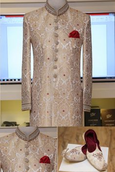 Jamawar sherwani Sherwani For Men Wedding, Sherwani Groom, Mens Sherwani, Wedding Men, Wedding Suits, Farm Wedding, Wedding Couples, Boho Wedding, Wedding Reception