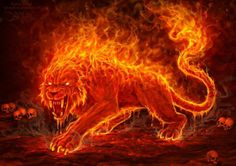 Flame Beast Art Print by christoskarapanos Mythical Creatures Art, Magical Creatures, Fantasy Creatures, Fantasy World, Fantasy Art, Tatoo Tiger, Beast, Tiger Wallpaper, Lion Pictures