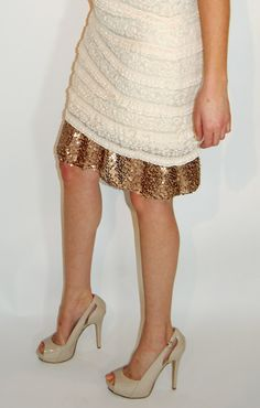 Gold Sequin Outskirt Layer Slip Extender by OutskirtsClothing