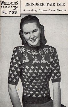 "1940's Weldons 753 PDF Knitting Pattern - Vintage Fair Isle Jumper - Wartime Pattern - Christmas Sweater - 35"" - 37"" Bust"