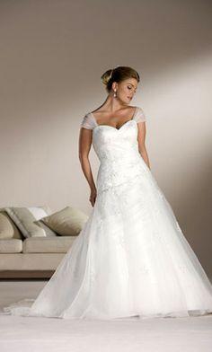 Cap Sleeve Plus Size Wedding Dress - www.dariuscordell.com/featured/plus-size-wedding-dresses-bridal-gowns/ | a-line bridal gowns for plus size brides