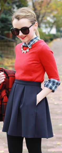 How To Style A Red Buffalo Check Coat - Poor Little It Girl