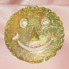 Vintage Smiley or Happy Face Brooch by BorrowedTimes on Etsy